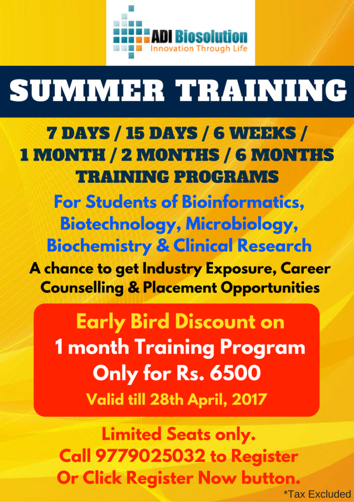 Industrial Training for Students of Bioinformatics, Biotechnology, Microbiology, Biochemistry and Clinical Research